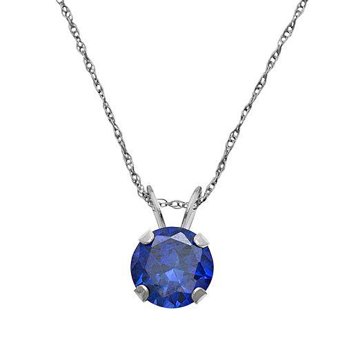 10k White Gold Lab-Created Sapphire Pendant