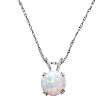 10k White Gold Lab-Created Opal Pendant