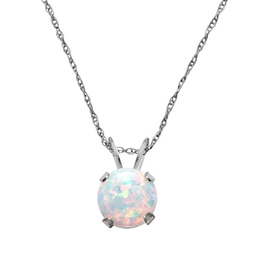 10k White Gold Lab-Created Opal Pendant