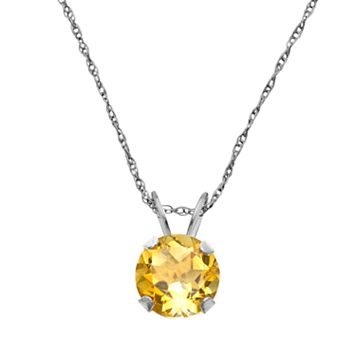 10k White Gold Citrine Pendant
