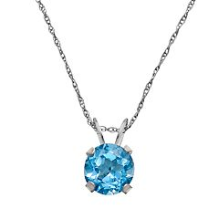 10k White Gold Blue Topaz Pendant