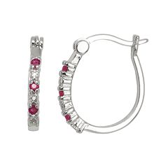 Silver-Plated Ruby & Diamond Accent U-Hoop Earrings