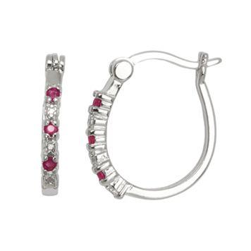 Silver-Plated Ruby & Diamond Accent U-Hoop Earrings