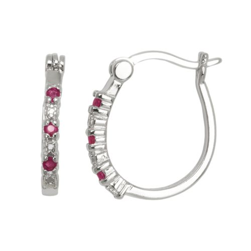 Silver-Plated Ruby and Diamond Accent U-Hoop Earrings