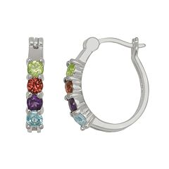 Silver-Plated Gemstone Oval Hoop Earrings