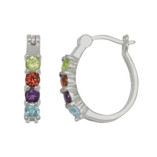 Silver-Plated Gemstone Oval Hoop Earrings