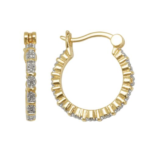 18k Gold Over Brass and Silver-Plated Diamond Accent Hoop Earrings
