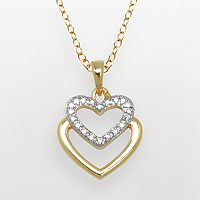 18k Gold Over Brass & Silver-Plated Diamond Accent Heart Pendant