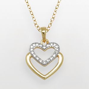 18k Gold Over Brass and Silver-Plated Diamond Accent Heart Pendant