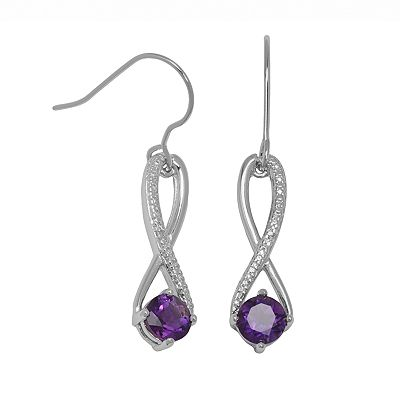 Silver Plated African Amethyst and Diamond Accent Drop Earrings