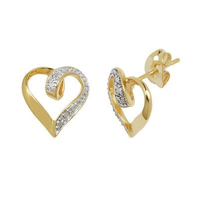 18k Gold Over Bronze and Silver-Plated Diamond Accent Heart Stud Earrings