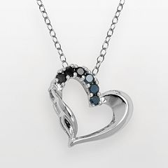 Silver Plated Sapphire Heart Pendant