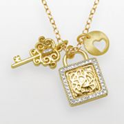 14k Gold Over Silver and Silver-Plated Diamond Accent Lock and Key Charm Necklace