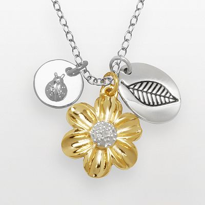 14k Gold Over Silver and Silver-Plated Diamond Accent Flower and Ladybug Charm Necklace