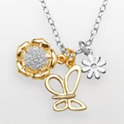 14k Gold Over Silver and Silver-Plated Diamond Accent Flower and Butterfly Charm Necklace