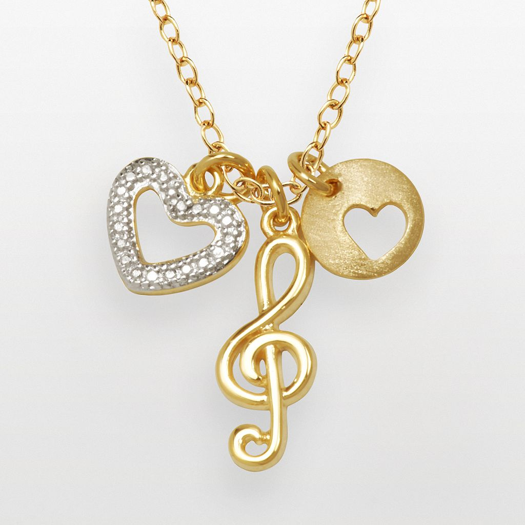 18k Gold Over Silver-Plated & Silver-Plated Diamond Accent Treble Clef & Heart Charm Necklace