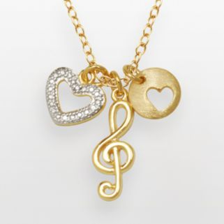18k Gold Over Silver-Plated and Silver-Plated Diamond Accent Treble Clef and Heart Charm Necklace