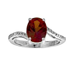 Sterling Silver Garnet & Diamond Accent Oval Ring