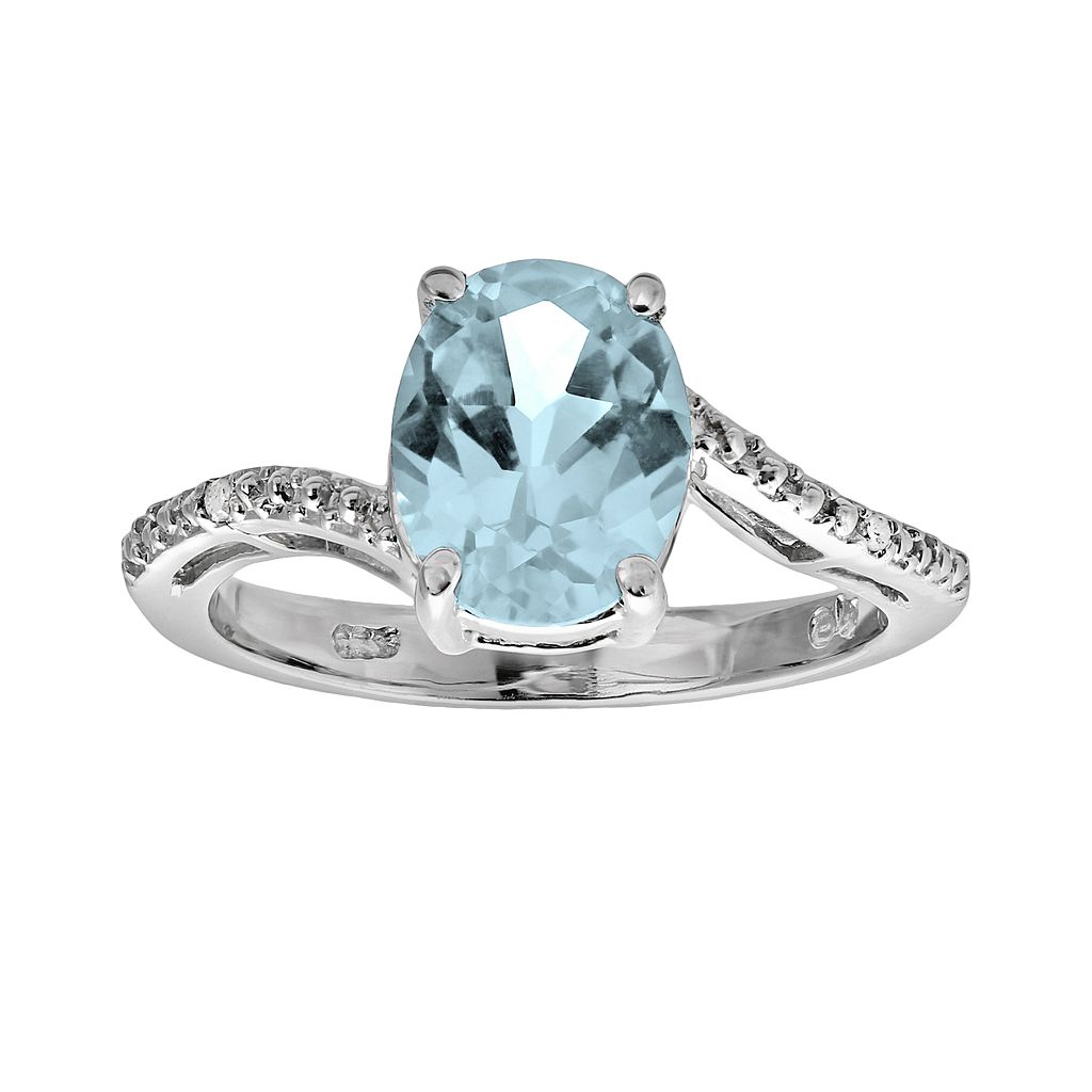 Sterling Silver Lab-Created Aquamarine & Diamond Accent Oval Ring