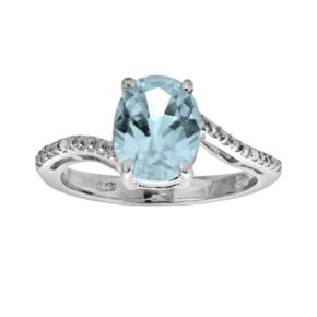 Sterling Silver Lab-Created Aquamarine and Diamond Accent Oval Ring