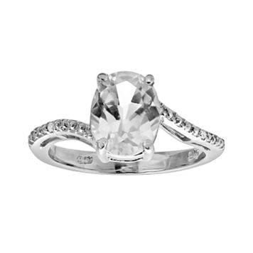 Sterling Silver White Topaz & Diamond Accent Oval Ring