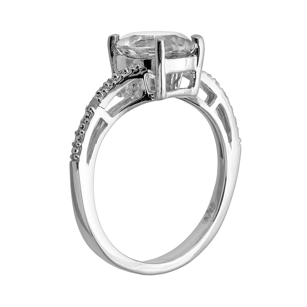 Sterling Silver White Topaz and Diamond Accent Oval Ring