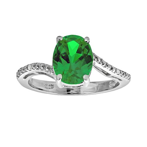 Sterling Silver Lab-Created Emerald & Diamond Accent Oval Ring