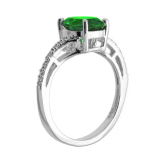 Sterling Silver Lab-Created Emerald and Diamond Accent Oval Ring