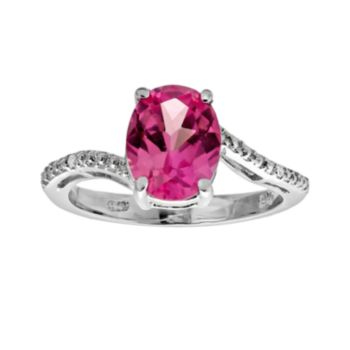 Sterling Silver Lab-Created Pink Sapphire and Diamond Accent Oval Ring