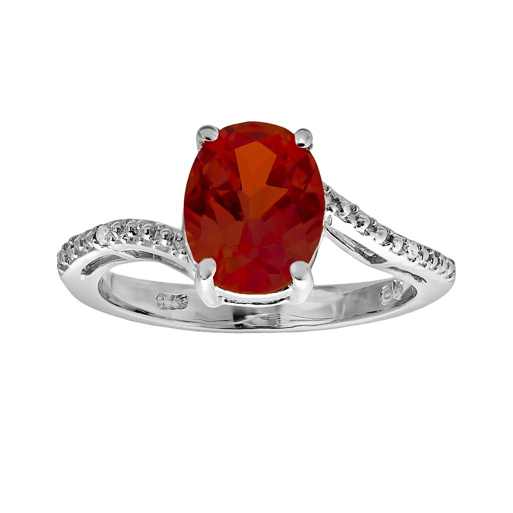 Sterling Silver Lab-Created Ruby & Diamond Accent Oval Ring