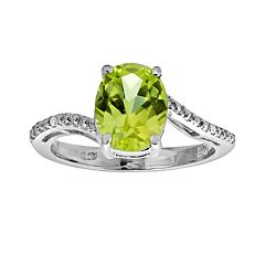 Sterling Silver Peridot & Diamond Accent Oval Ring