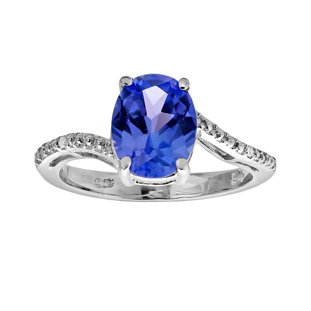 Sterling Silver Lab-Created Sapphire & Diamond Accent Oval Ring