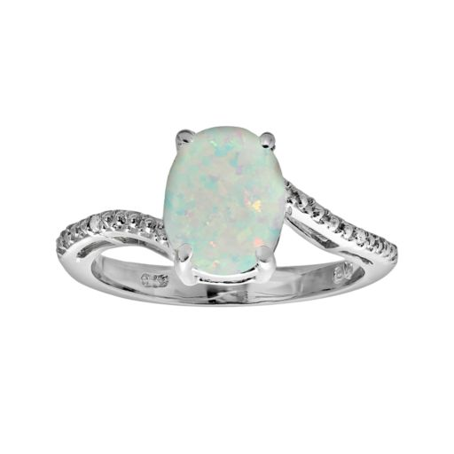 Sterling Silver Lab-Created Opal and Diamond Accent Oval Ring
