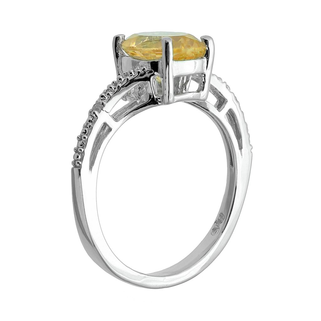 Sterling Silver Citrine and Diamond Accent Oval Ring