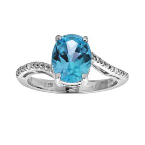 Sterling Silver Blue Topaz and Diamond Accent Oval Ring