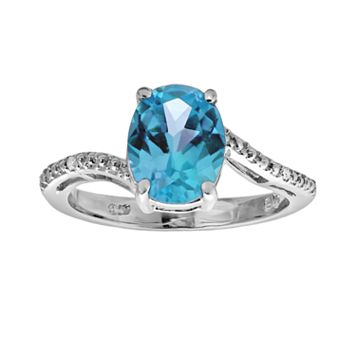 Sterling Silver Blue Topaz & Diamond Accent Oval Ring