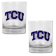 TCU Horned Frogs 2 pc Rocks Glass Set