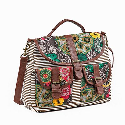 Nikky by Nicole Lee Jocie Floral and Striped Satchel