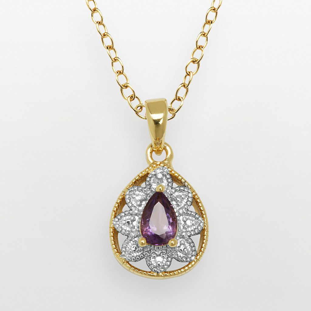 18k Gold Over Bronze & Silver-Plated African Amethyst & Diamond Accent Teardrop Pendant