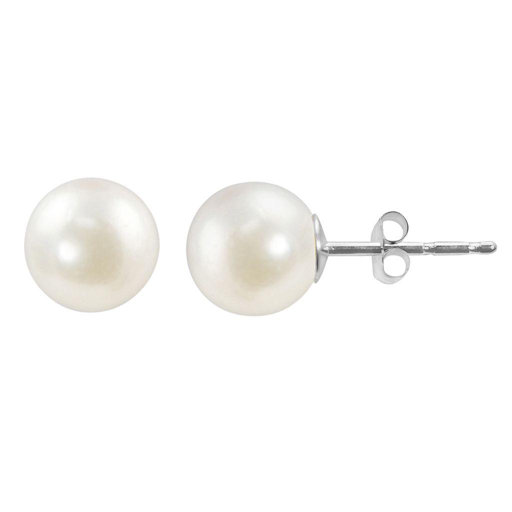 14k White Gold Akoya Cultured Pearl Stud Earrings
