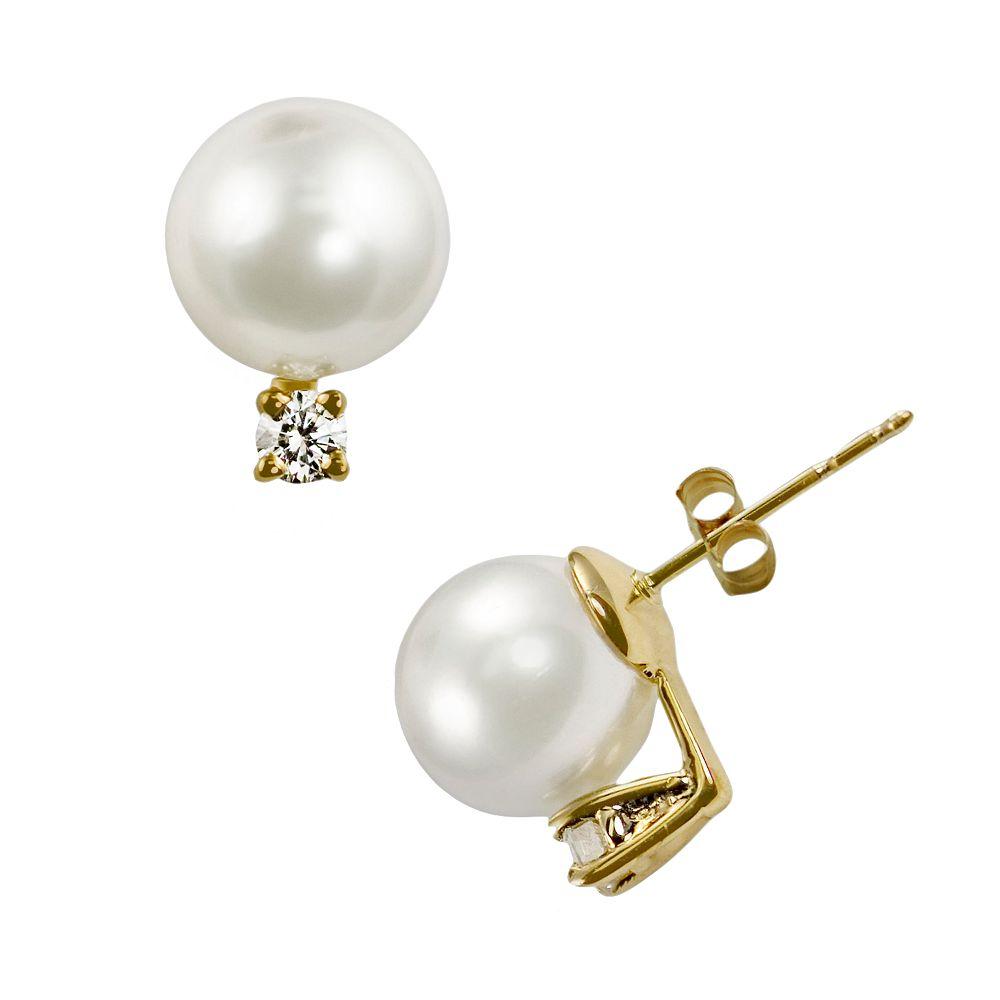 14k Gold Akoya Cultured Pearl & Diamond Accent Stud Earrings