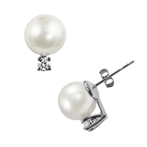 14k White Gold Akoya Cultured Pearl & Diamond Accent Stud Earrings