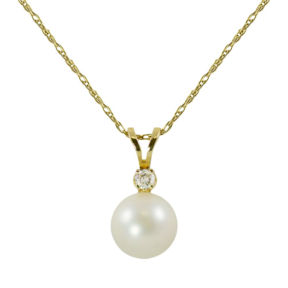 14k Gold Akoya Cultured Pearl & Diamond Accent Pendant