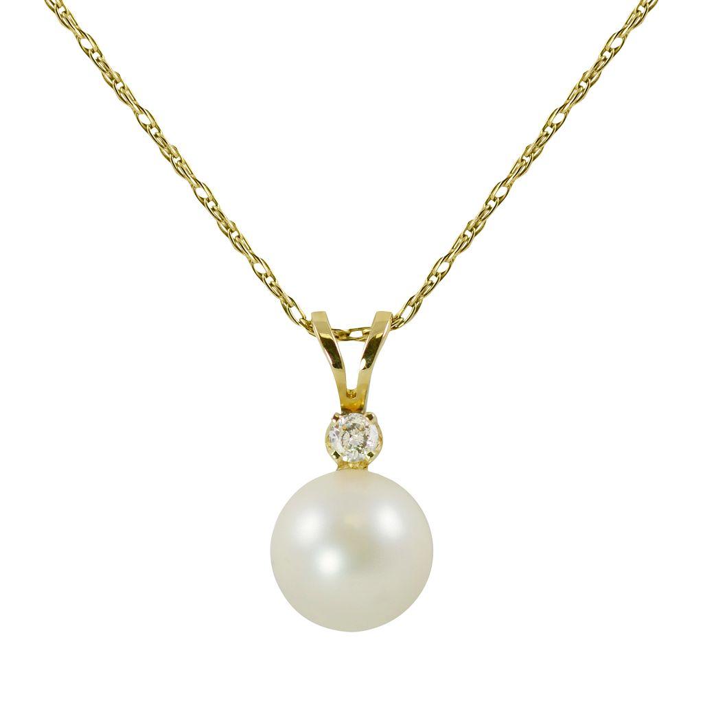 14k Gold Akoya Cultured Pearl & Diamond Accent Pendant