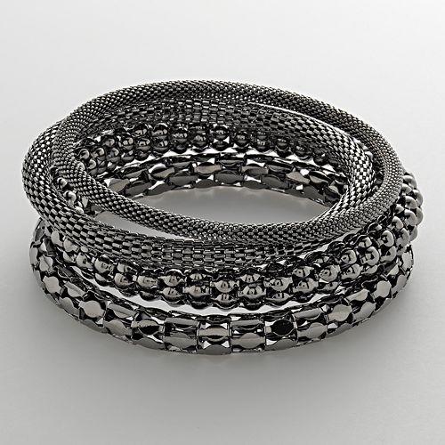 Jet Mesh Bangle Bracelet Set
