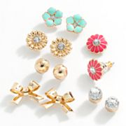 SO Gold Tone Simulated Crystal Bow and Flower Stud Earring Set