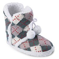 Journee Mimi Girls' Argyle Slipper Boots