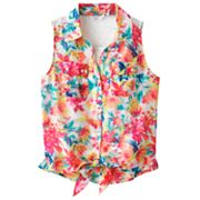 Candie's Floral Tie-Front Mock-Layer Top - Girls 7-16