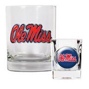 Ole Miss Rebels 2 pc Rocks Glass & Shot Glass Set