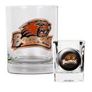 Oregon State Beavers 2 pc Rocks Glass & Shot Glass Set